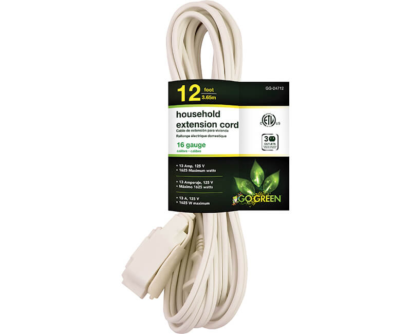 12' 16/2 Gauge Household Extension Cord - White