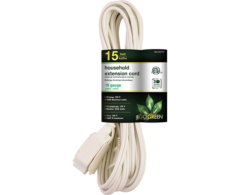 15' 16/2 Gauge Household Extension Cord - White