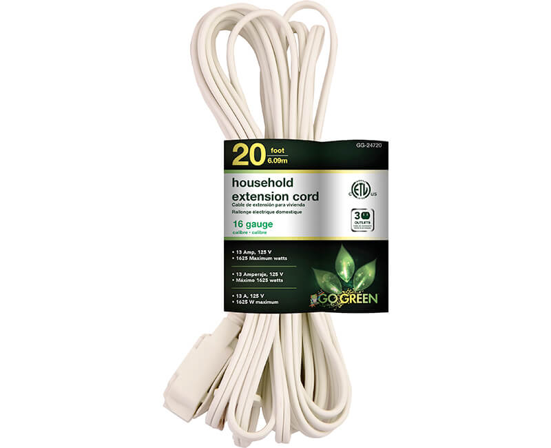 20' 16/2 Gauge Household Extension Cord - White