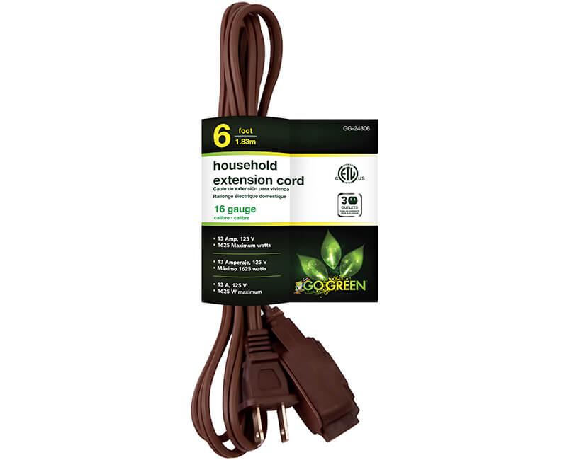 6' 16/2 Gauge Household Extension Cord - Brown