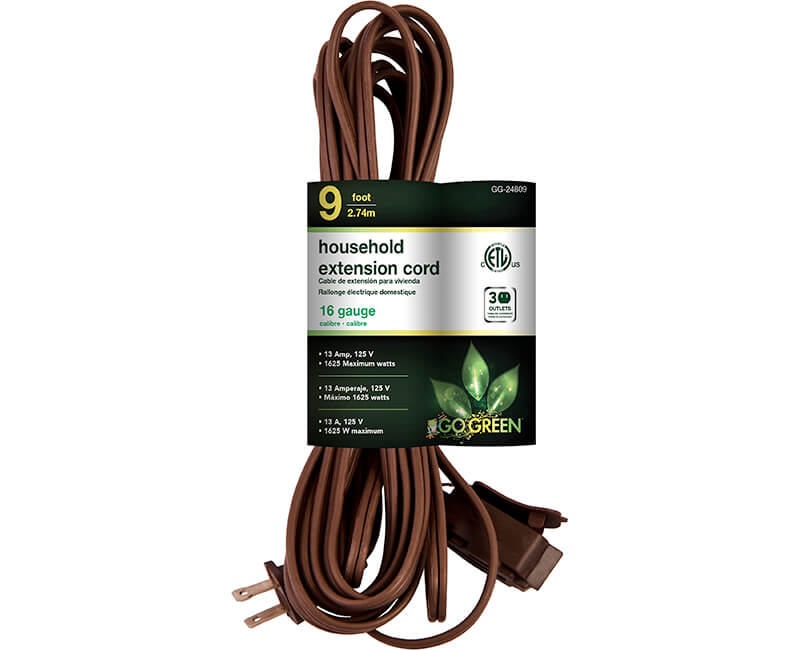9' 16/2 Gauge Household Extension Cord - Brown