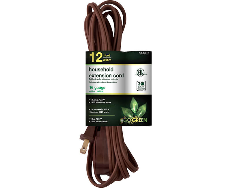 12' 16/2 Gauge Household Extension Cord - Brown