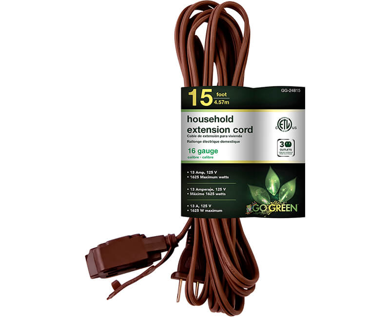 15' 16/2 Gauge Household Extension Cord - Brown