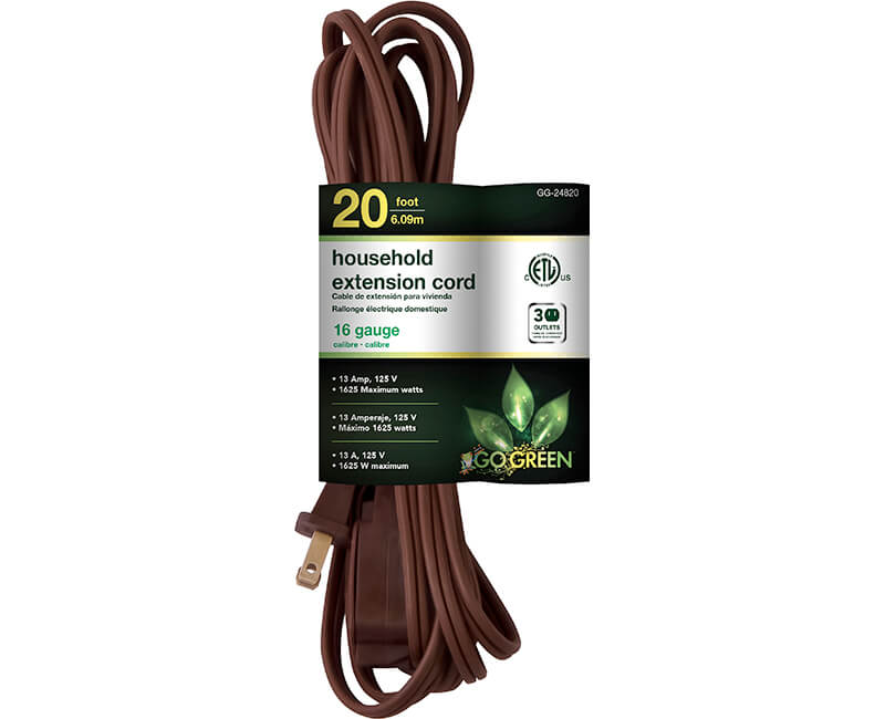 20' 16/2 Gauge Household Extension Cord - Brown
