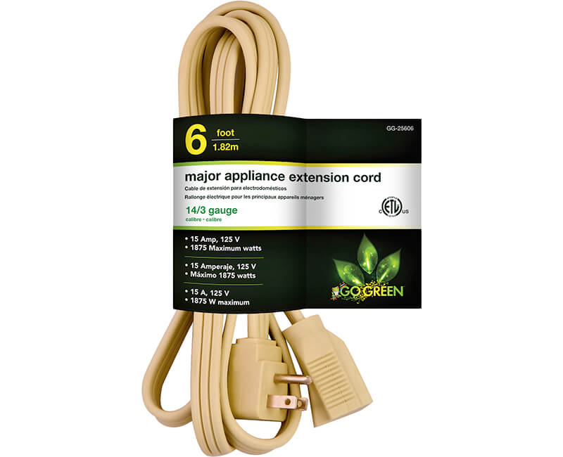 6' 14/3 Gauge Air Conditioner Cord - Beige
