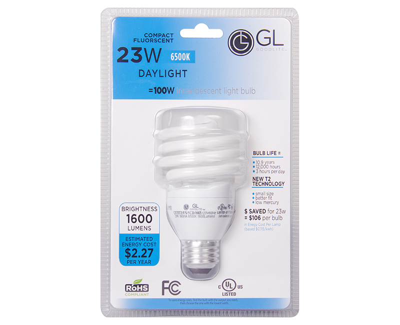 T2 Mini Spiral CFL 65K Carded - 23W 1 Pack