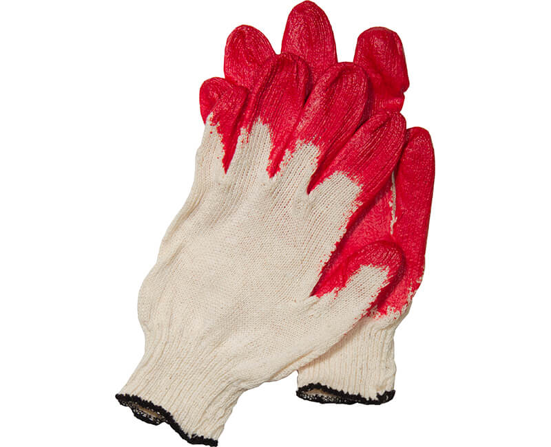 Cotton Gloves With Plastic Dipped Palm - Red