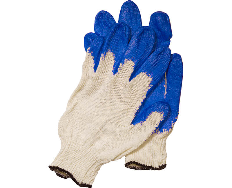 Heavy Cotton Glove With Plastic Dipped Palm - Blue