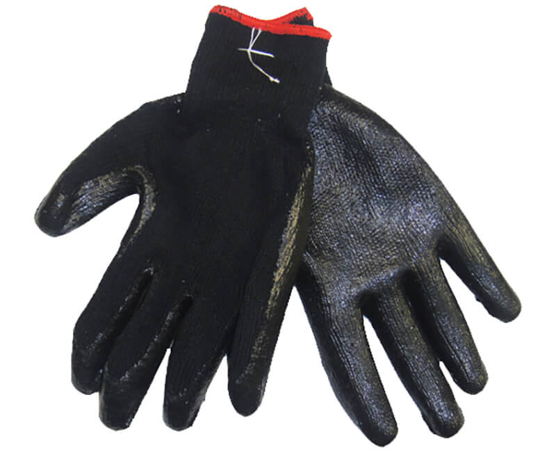 Heavy Cotton Glove With Plastic Dipped Palm - Black