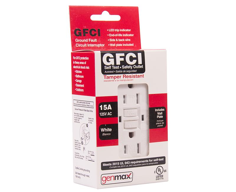 White GFCI Tamper Resistant Self Test - 15 AMP