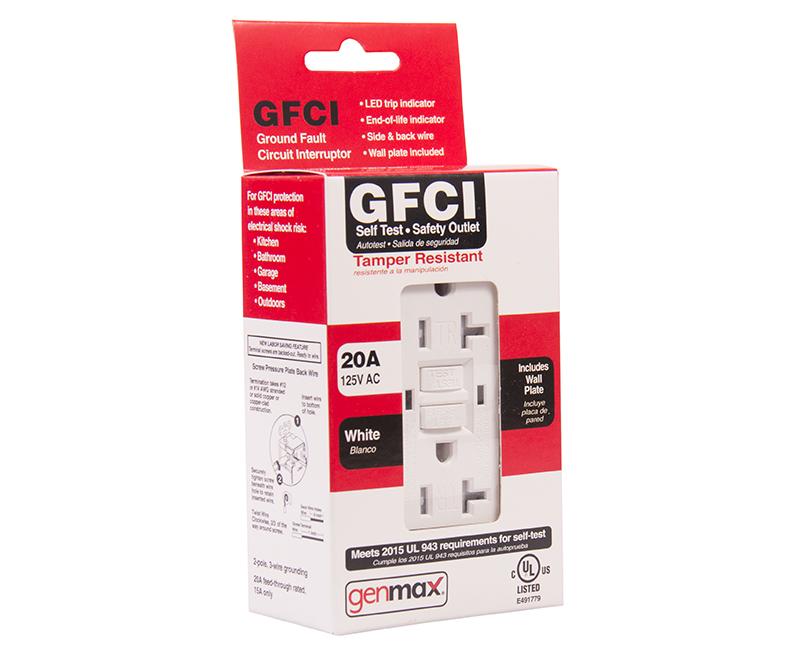 White GFCI Tamper Resistant Self Test - 20 AMP