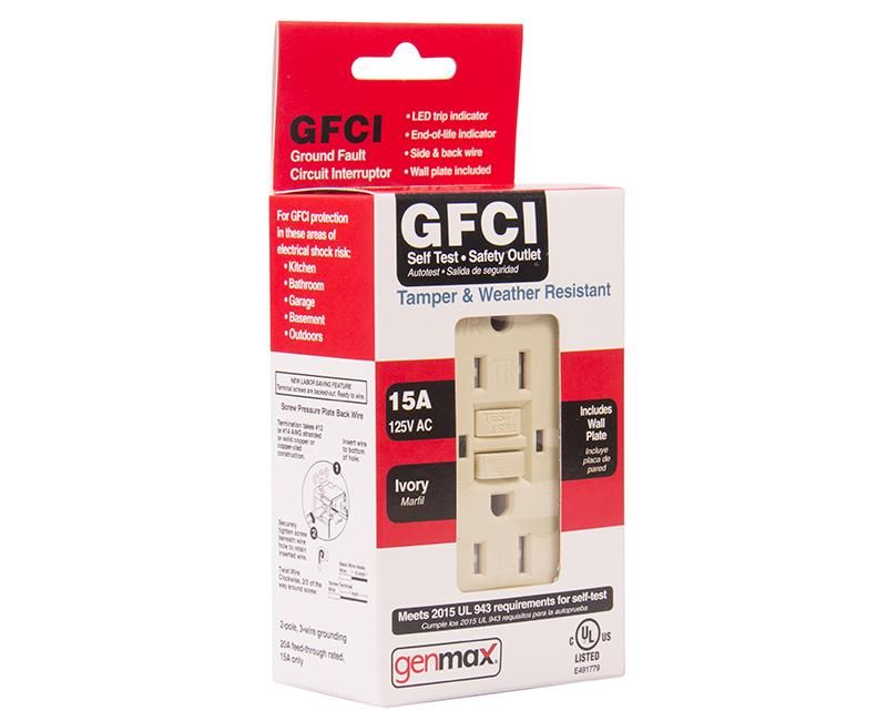 Ivory GFCI Tamper/Weather Resistant Self Test - 15 AMP
