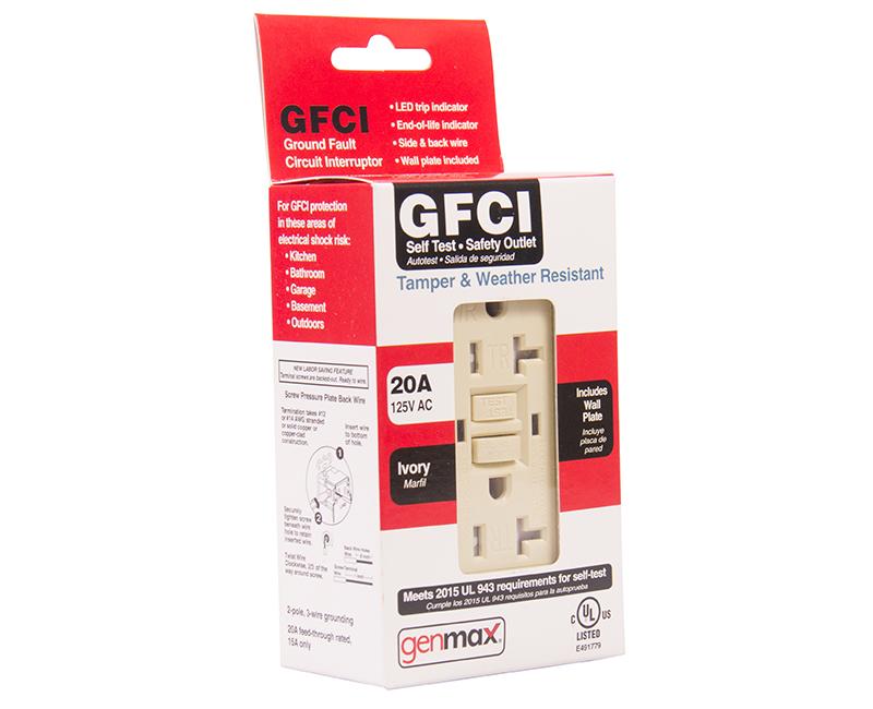 Ivory GFCI Tamper/Weather Resistant Self Test - 20 AMP