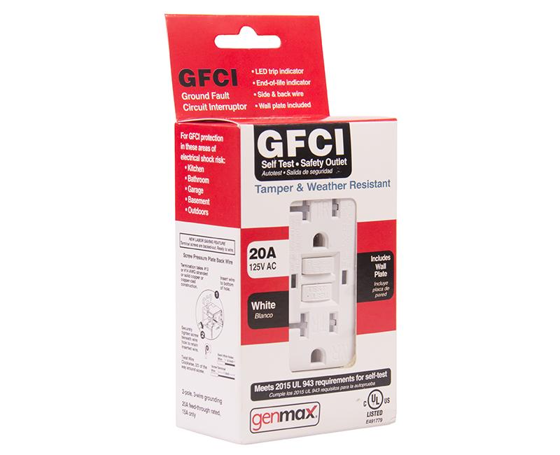 White GFCI Tamper/Weather Resistant Self Test - 20 AMP