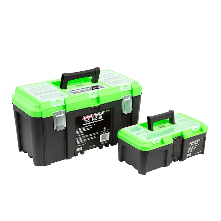 "3 PIECE TOOL BOX SET W/ REMOVABLE TOOL TRAY AND BONUS 12.5"" TOOL BOX"