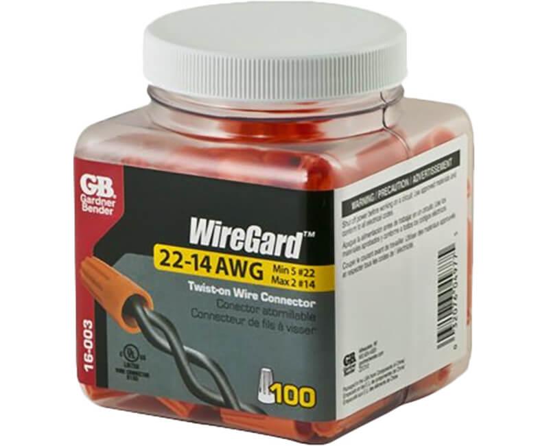 Orange WireGard Screw-On Wire Connectors - 100 Per Jar