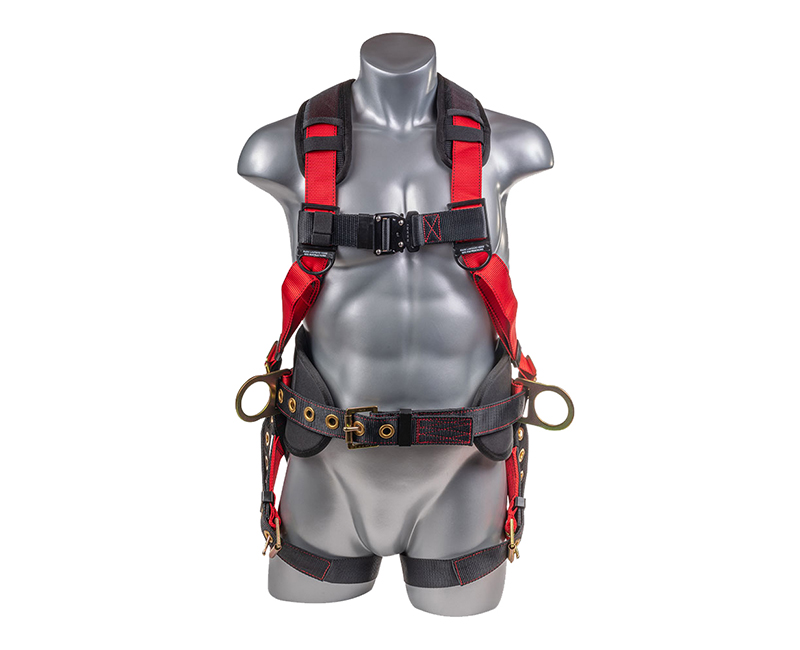 RED W/ BLACK BELT HARNESS W/ 5 POINT GROMMET LEGS-LARGE