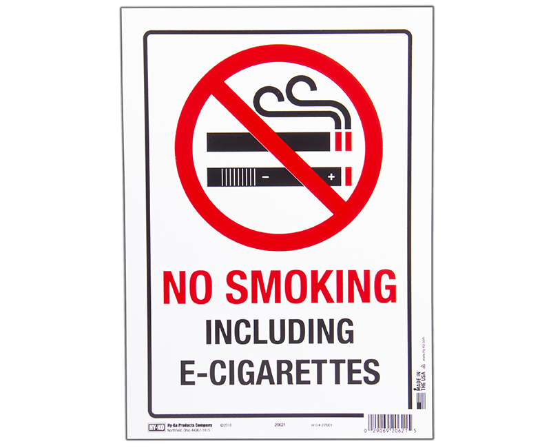 "8.5"" x 12"" No Smoking Including E-Cigarettes Sign"