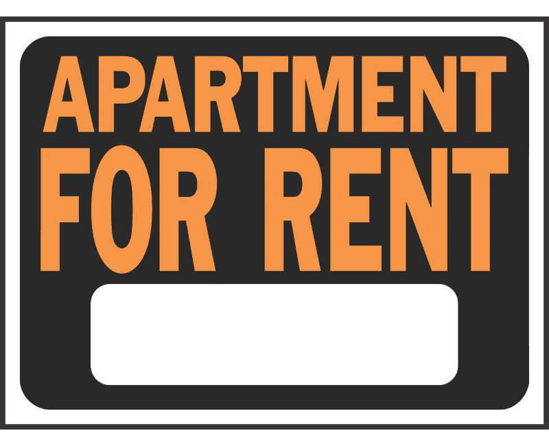 "9"" X 12"" Signs - Apartment For Rent"