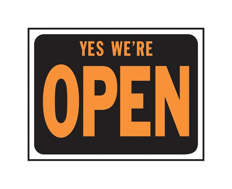 "9"" X 12"" Signs - Yes We're Open"