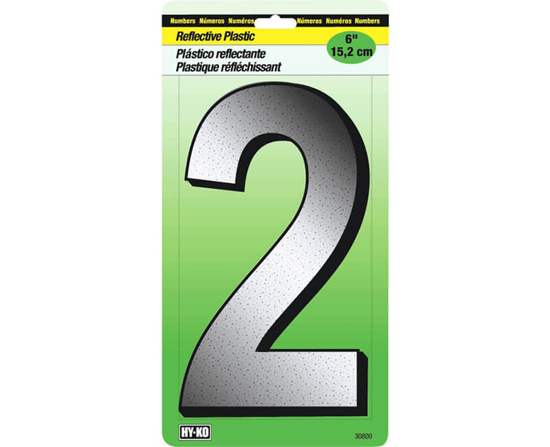 "6"" Reflective Plastic Number - 2"