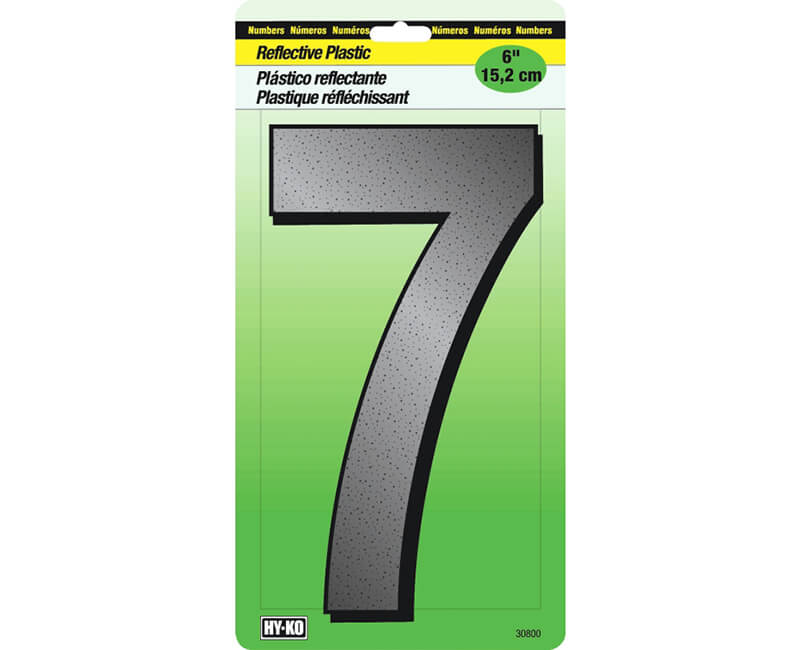 "6"" Reflective Plastic Number - 7"