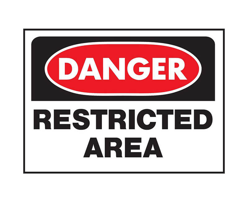 """10"""" X 14"""" OSHA Signs - Danger Restricted Area"""