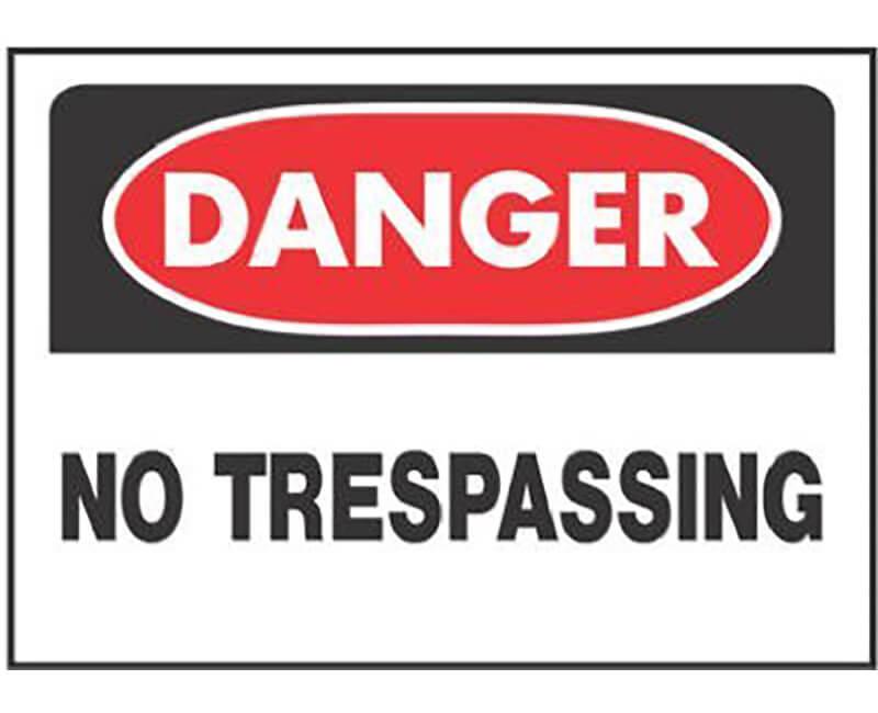 """10"""" X 14"""" OSHA Signs - Danger No Trespassing"""