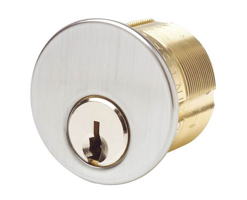 """1"""" Ilco Mortise Cylinder Yale 8 Keyway US26D"""