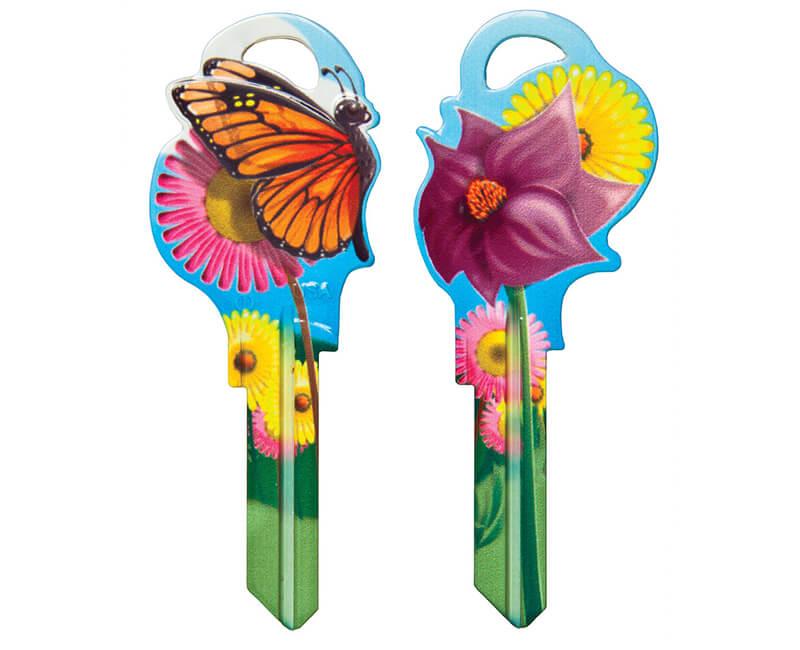 Key Mates Floral SC1 2 Keys/ Card