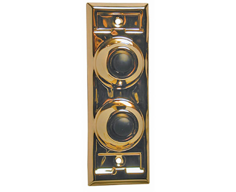 Two Gang Push Button With Name Plate - Brass