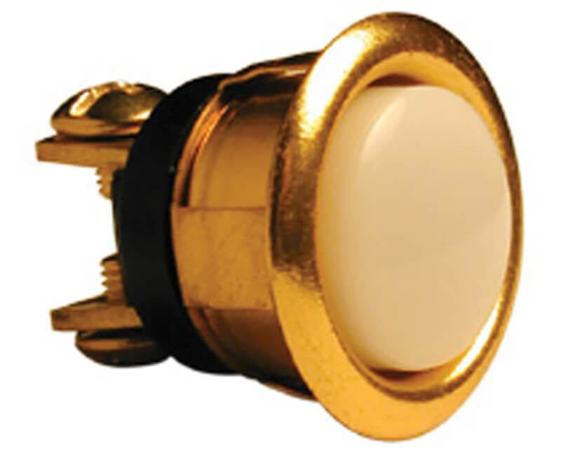 """5/8"""" Pearl Push Button Lighted - Brass"""