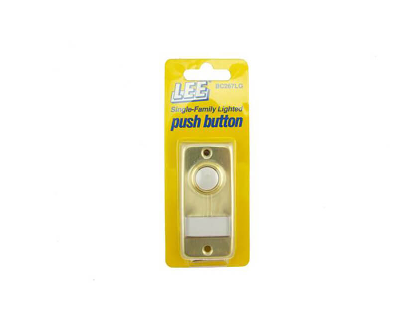 """2-5/16"""" X 1-3/8"""" Single Lighted Push Button With Name Plate - Gold"""