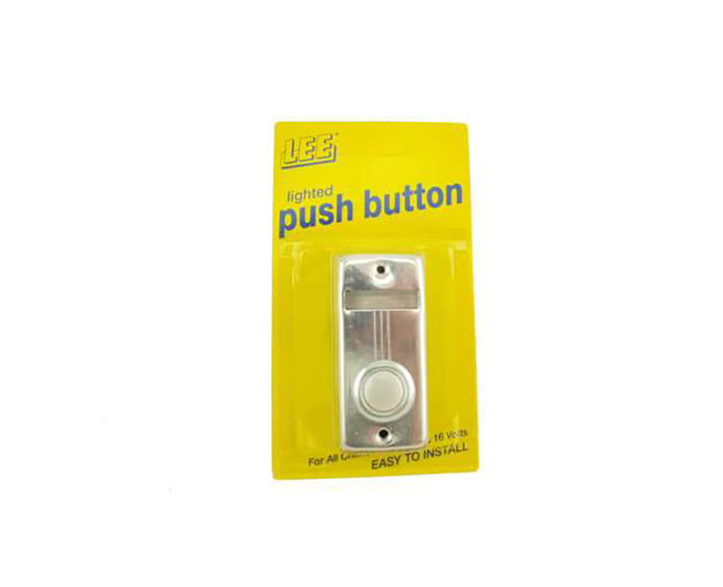 """2-5/8"""" X 1-3/8"""" Single Lighted Push Button With Name Plate - Silver"""
