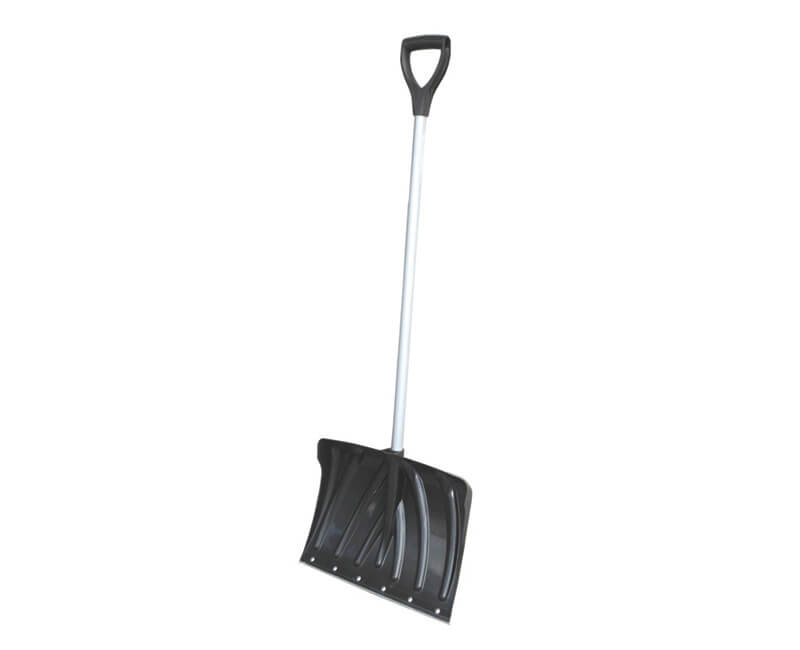 "18"" Poly Snow Shovel - D-Grip Steel Tube Handle With Wear Strip"