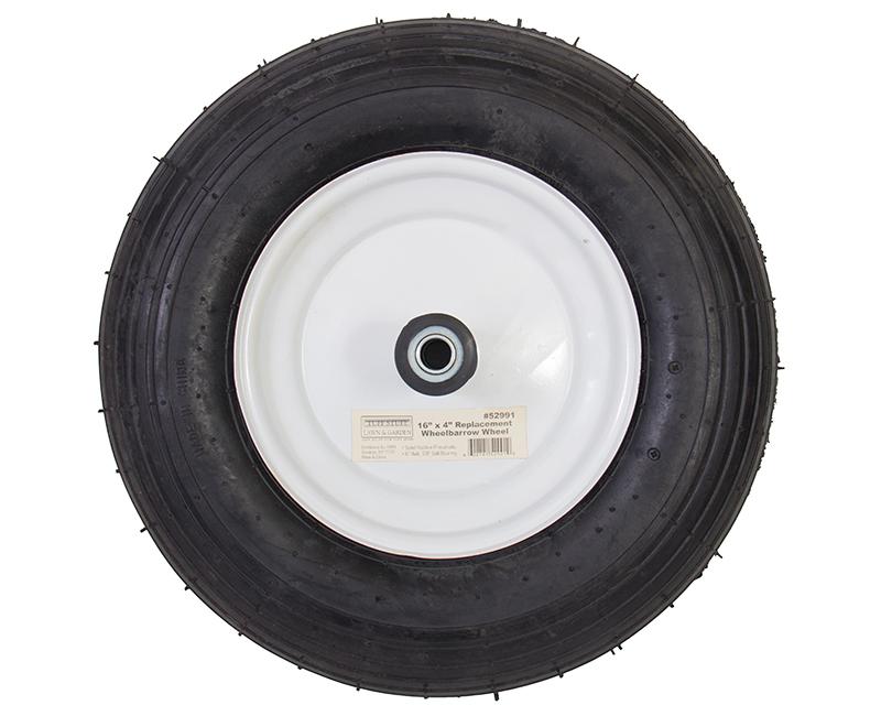 "16"" X 4"" Wheelbarrow Wheels - Rubber Pneumatic"