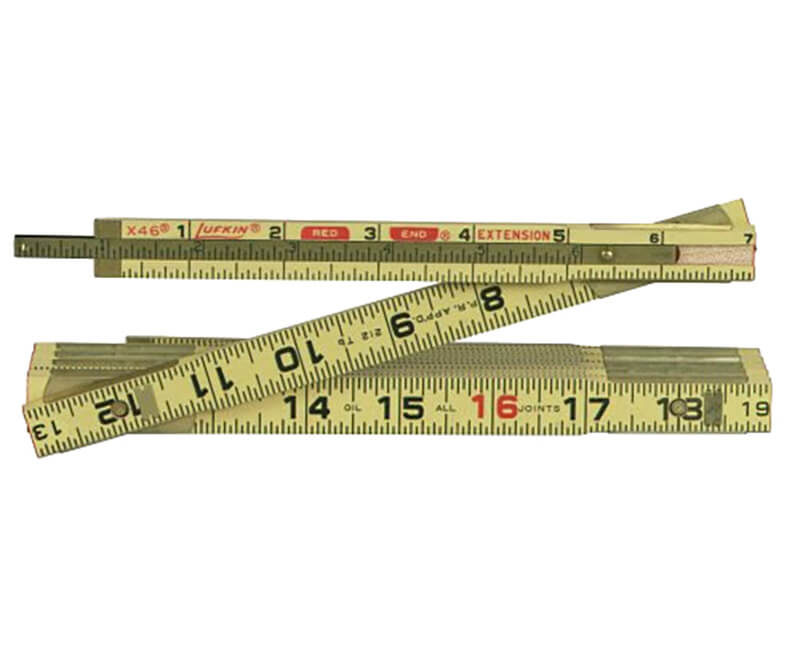 6' Red End Wood Ruler - Single Extension