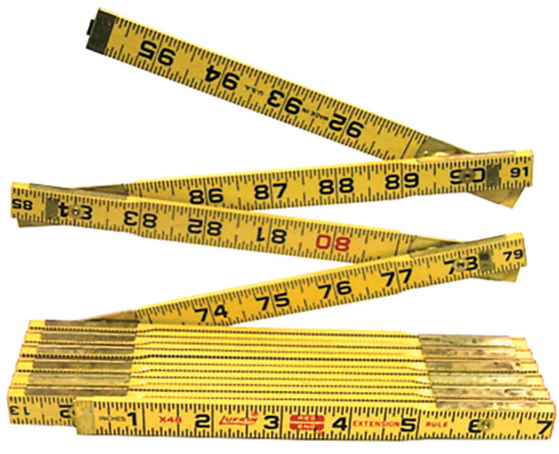 8' Red End Wood Ruler - Single Extension