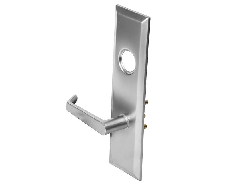 "2-3/4"" x 10"" Left Hand Escutcheon Plate W/ Lever Handle & Turn Knob Hole - 26D Finish"