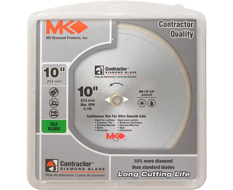 "10"" Continuous Rim Diamond Blade - Carded"