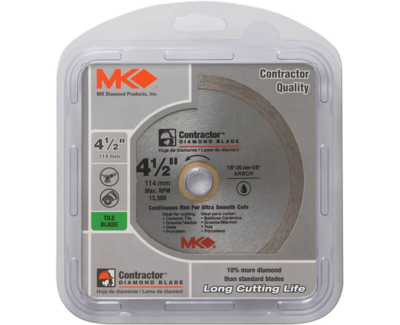 "4 1/2"" Continuous Rim Diamond Blade - Carded"