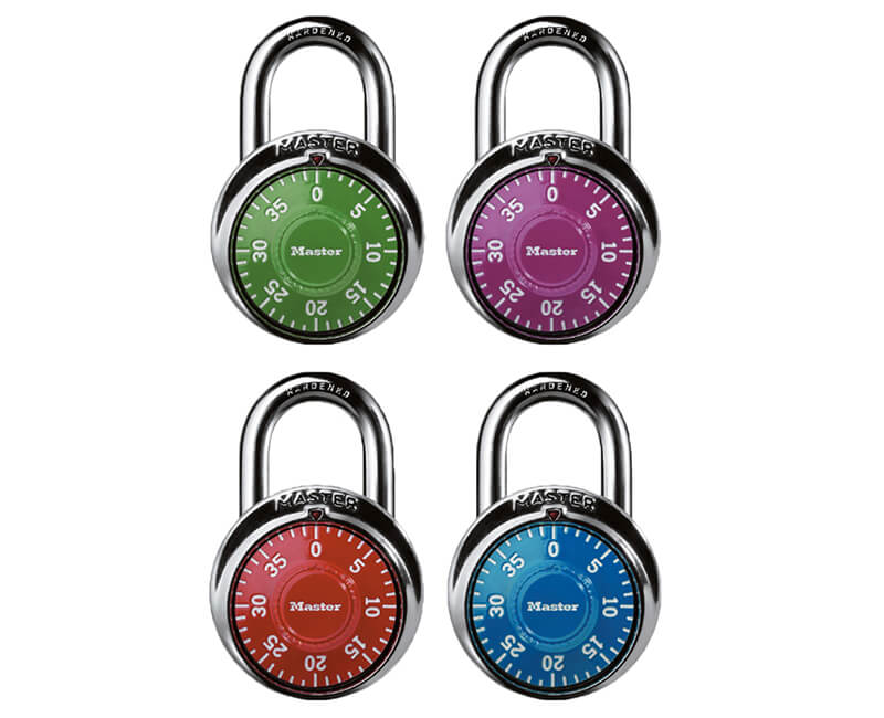 "1-7/8"" Stainless Steel Combination Lock - Color Dials Carded"