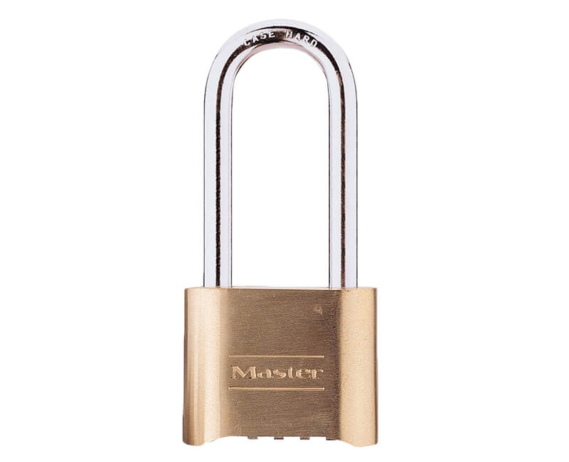 "2-1/4"" Long Shackle Resettable Combination Lock - Brass"