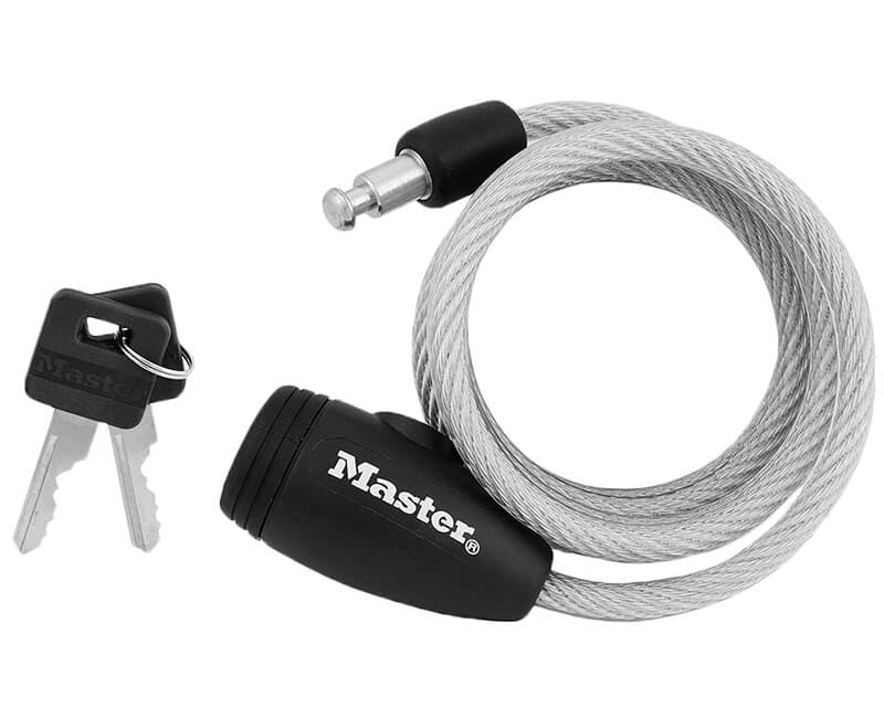 """4' X 5/16"""" Self Coiling Steel Cable Lock"""