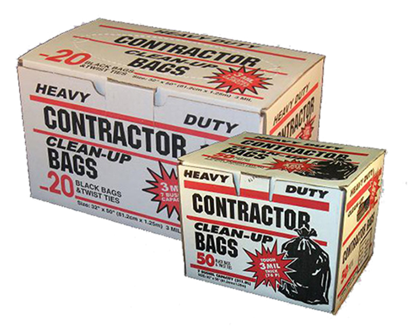 2 Mil Contractor Bags W/ Ties 32 x 50 - 10 Polybag