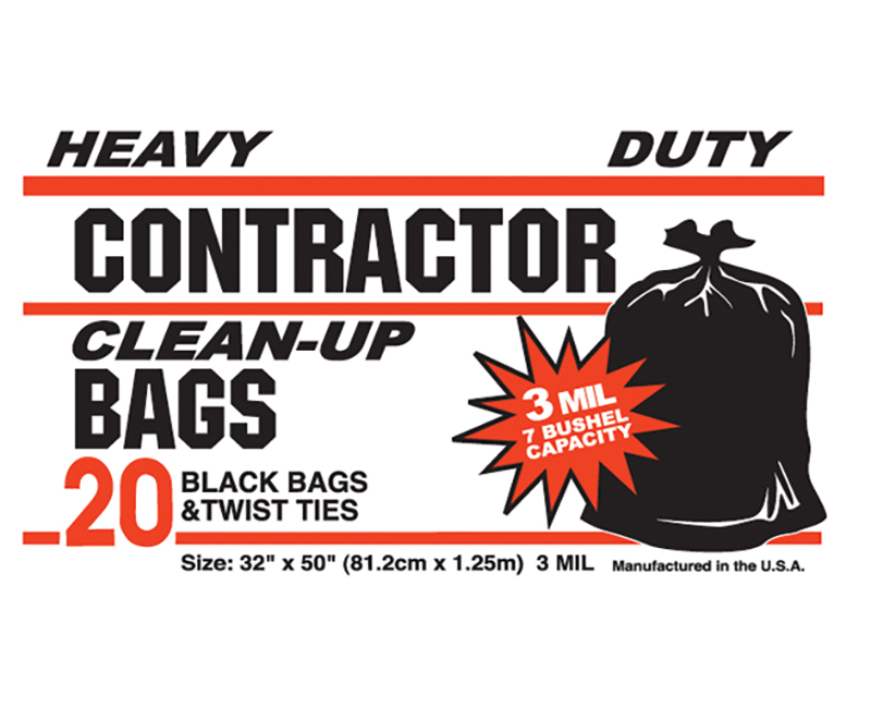 3 Mil Contractor Bags 42 Gal 32 x 50 - 20 Ct. Boxed