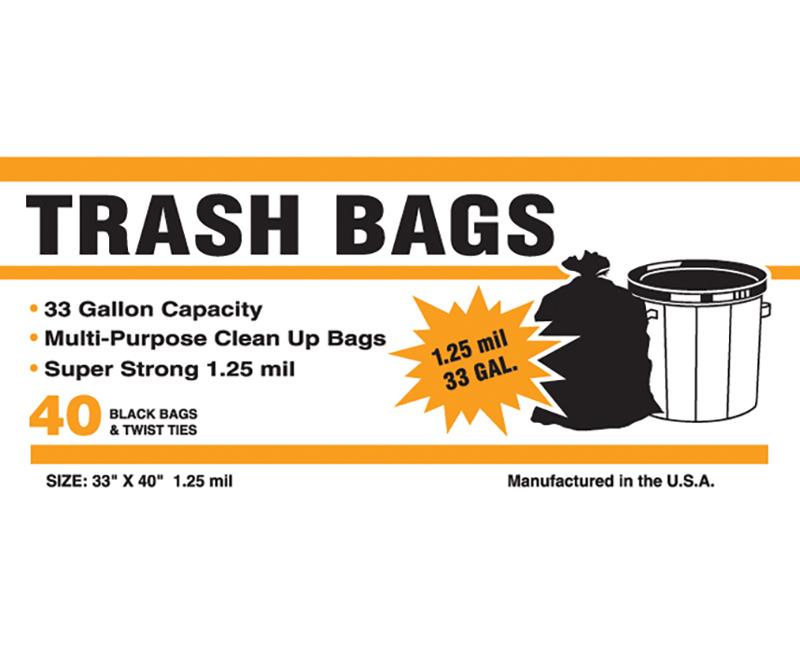 1.25 Mil Black Trash Bags 33 Gal 33 x 40 - 40 Ct. Boxed