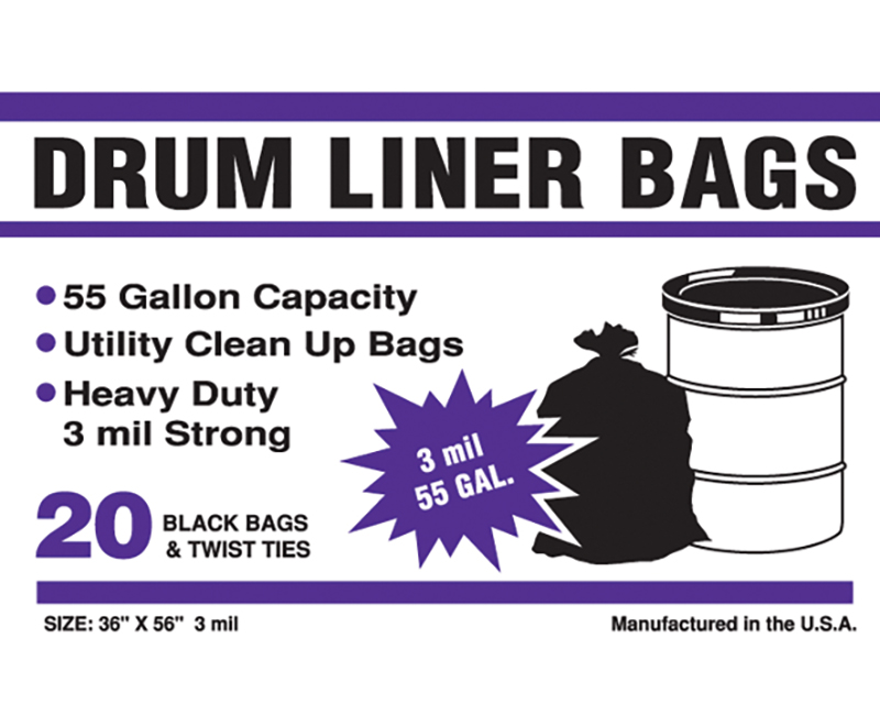 3 Mil 55 Gal Drum Liner Bags 36 x 56 - 20 Ct. Boxed