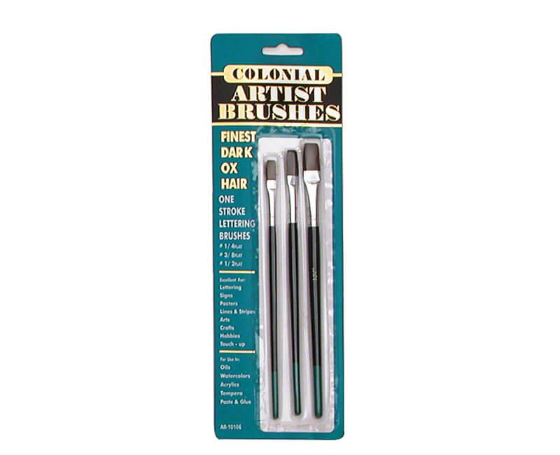 3 Pc. Ox-Hair One Stroke Lettering Brush