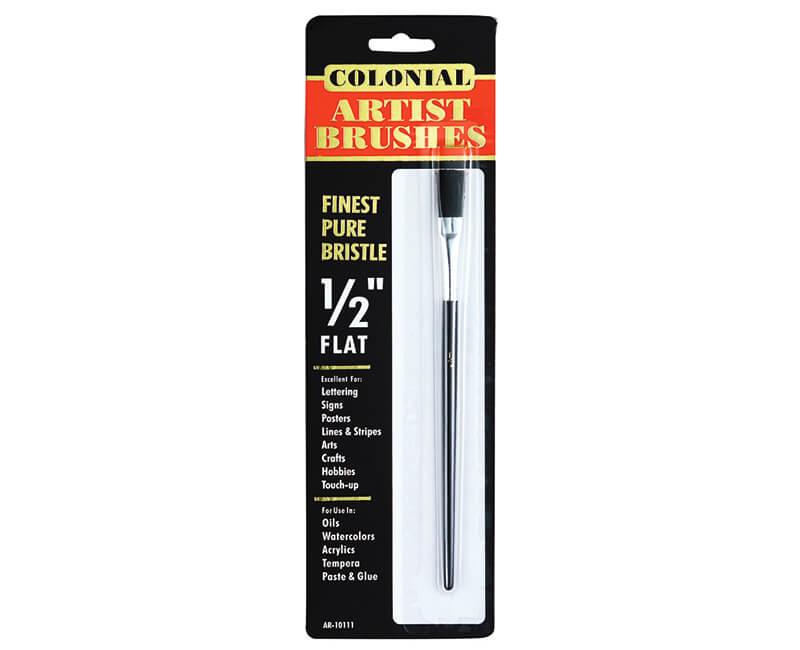 "1/2"" Black Bristle Artist Brush - Flat"
